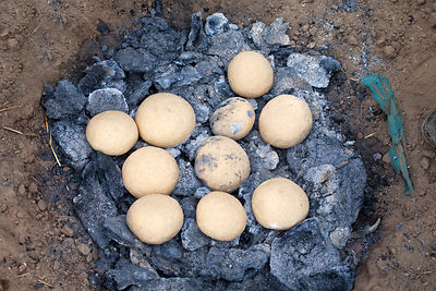 Cooking biscuits on camel dung, Pushkar, Rajasthan, India