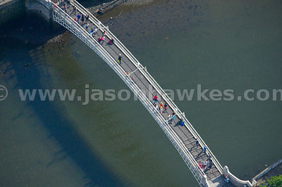 Aerial view of Liffey Bridge across the River Liffey, Dublin, Ireland