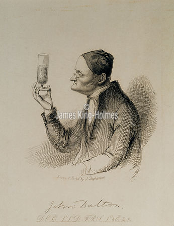 Engraving - John Dalton as an old man