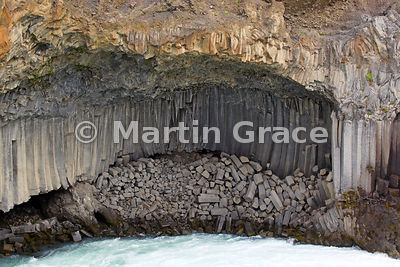 Basalt rock formations on the river Skjalfandafljot at Aldeyjarfoss, Icelandic Interior