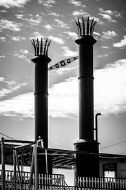 Steamboat Smokestacks Black and White Picture