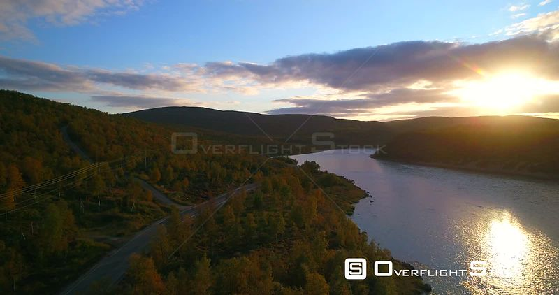 Mountain Road, Aerial View Over Road 970 the Tenontie, Near Tenojoki River, at the Border of Norway and Utsjoki, on a Sunny A...