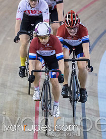 Cat 2/U17 Women Scratch Race. 2016/2017 Track O-Cup #3/Eastern Track Challenge, Mattamy National Cycling Centre, Milton, On, ...