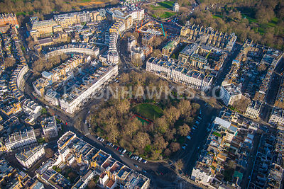 Aerial view of London, Belgravia with Belgrave Square Gardens.