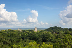 Temples I, II, and III from Temple IV, Tikal