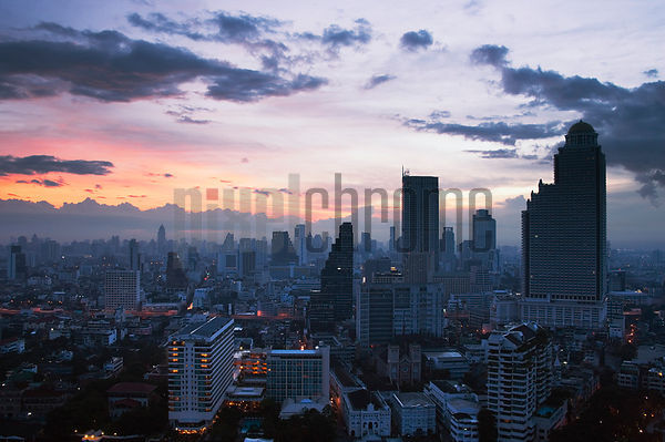 Bangkok Skyline at Dawn, Thailand