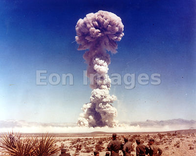 Personnel observe blast from Buster-Jangle atomic tests in 1951