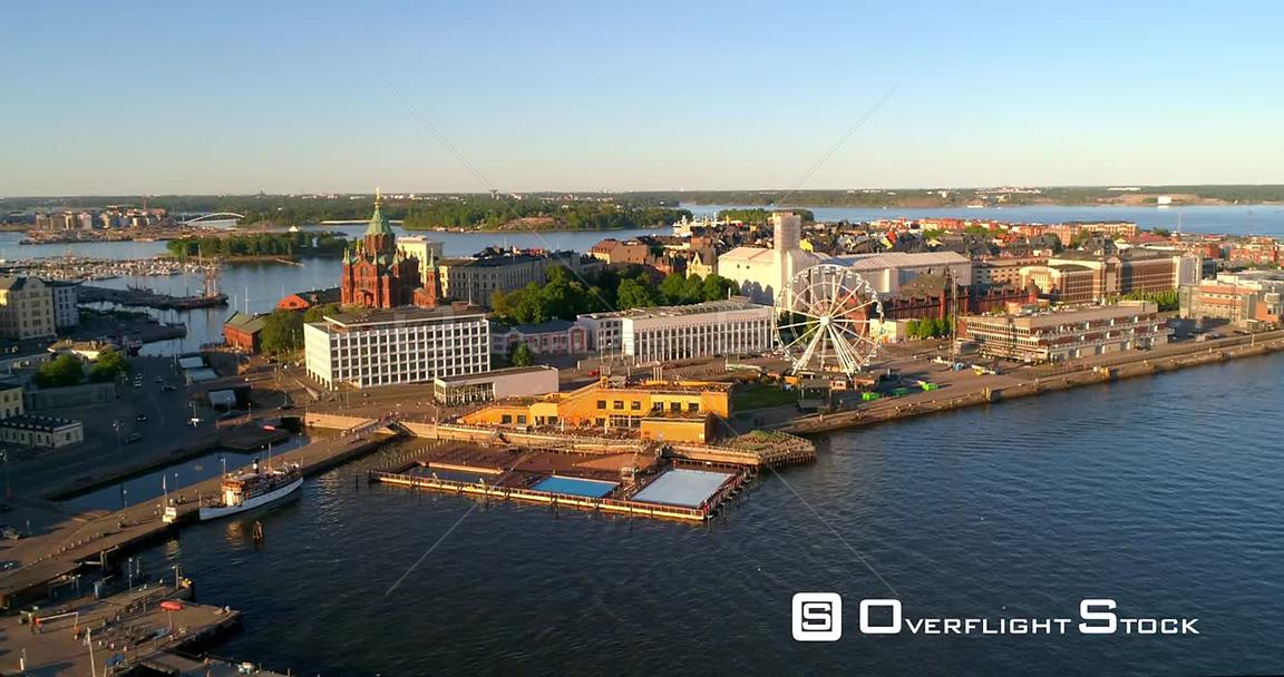 Helsinki Cityscape, Aerial View Katajanokka, Uspetski Cathedral and Helsinki Skywheel, on a Sunny Summer Evening Dusk, in Hel...