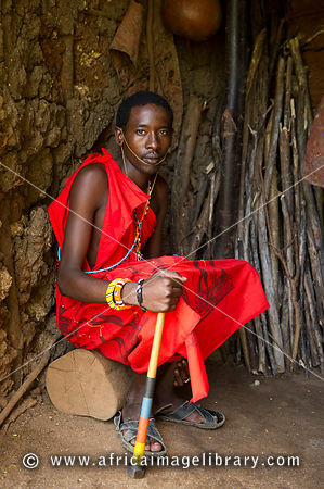 Maasai man in his hut, Ngomongo Village, Kenya