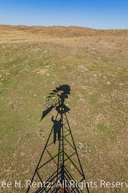Windmill Shadow in the Nebraska Sandhills