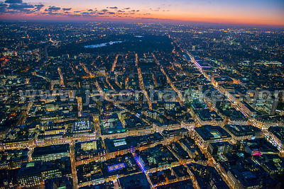 Aerial view of Regent Street at night, London