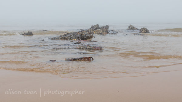 Remains of the 1917 wreck of SS Fernebo, Cromer, Norfolk