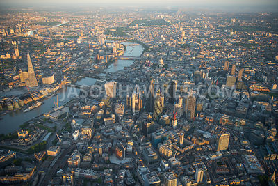Aerial view of City of London Financial buildings  at dawn.