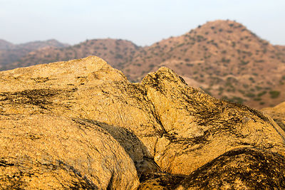Gorgeous golden rocks in the Aravali Range near Kaklana village, Rajasthan, India