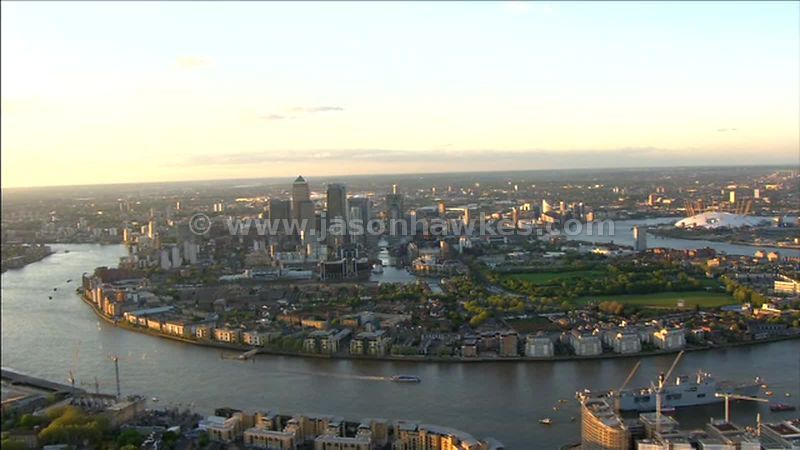 Aerial footage over The Isle of Dogs, London, England, UK