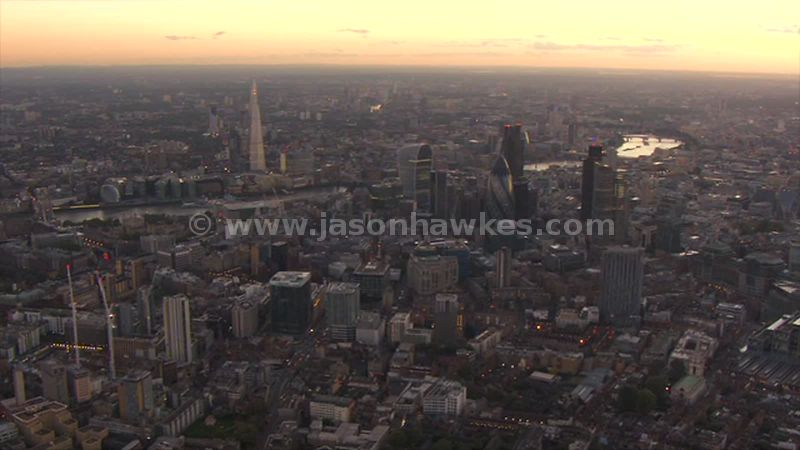 Aerial footage of the City and The Shard, London