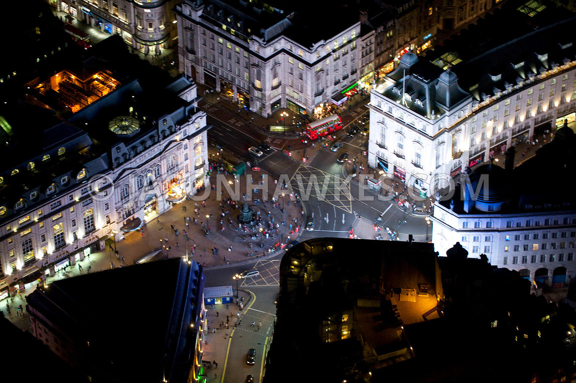 Aerial View over Piccadilly Circus at night, London