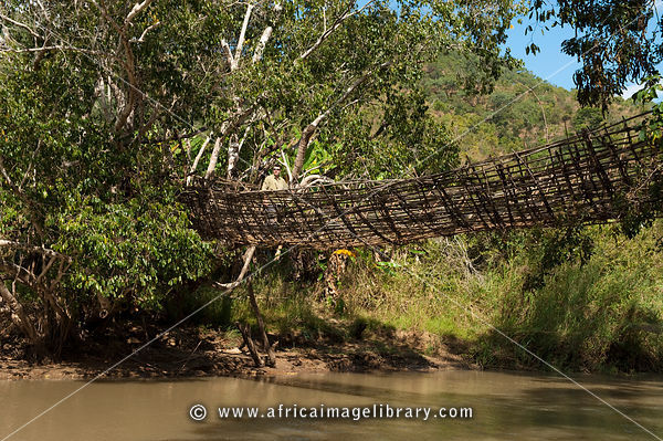 Traditional basket bridge, crossing the south Rukuru river, Kandewe village, Rumphi region, Malawi