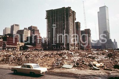 Construction on Lower Manhattan's West Side, Just North of the World Trade Center (Tall Building in Background) May 1973