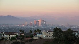 Wide Shot: Home Views of the Los Angeles Skyline at Dusk