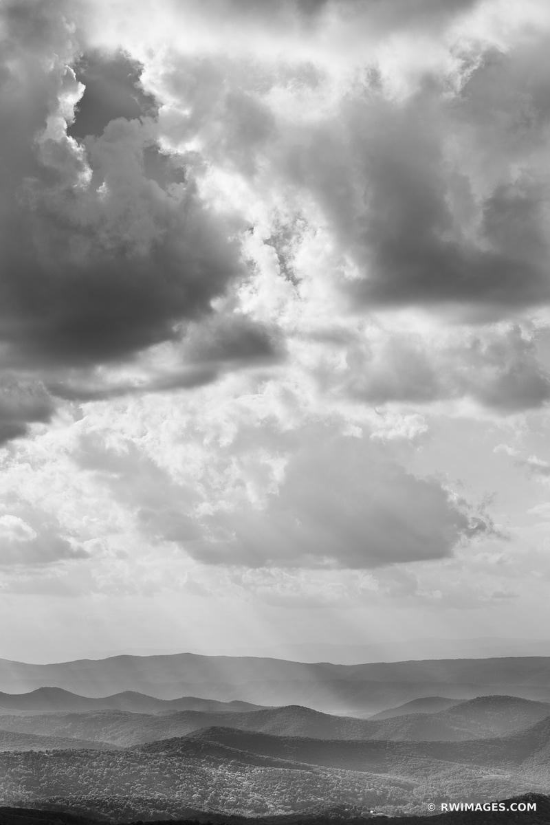 BLUE RIDGE MOUNTAINS SHENANDOAH VALLEY SHENANDOAH NATIONAL PARK VIRGINIA BLACK AND WHITE VERTICAL