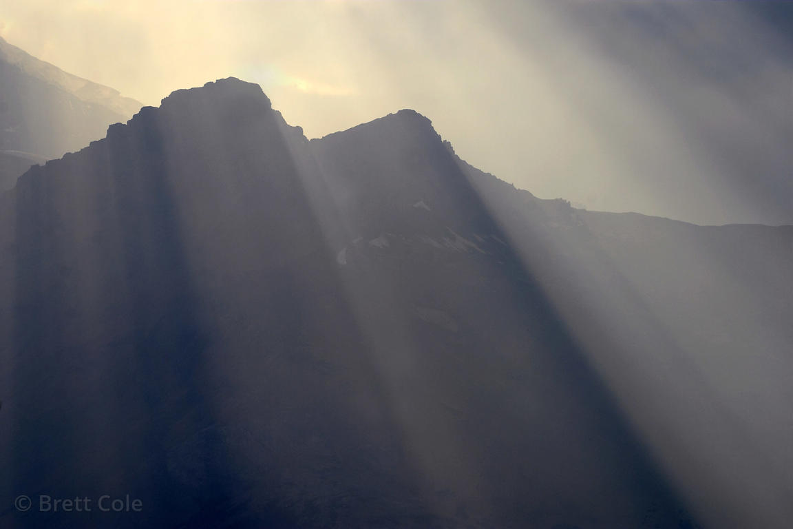 Sunrays over 3,505 mt. (11,500 ft.) Mt. Kitchener, Jasper NP, Canadian Rockies.
