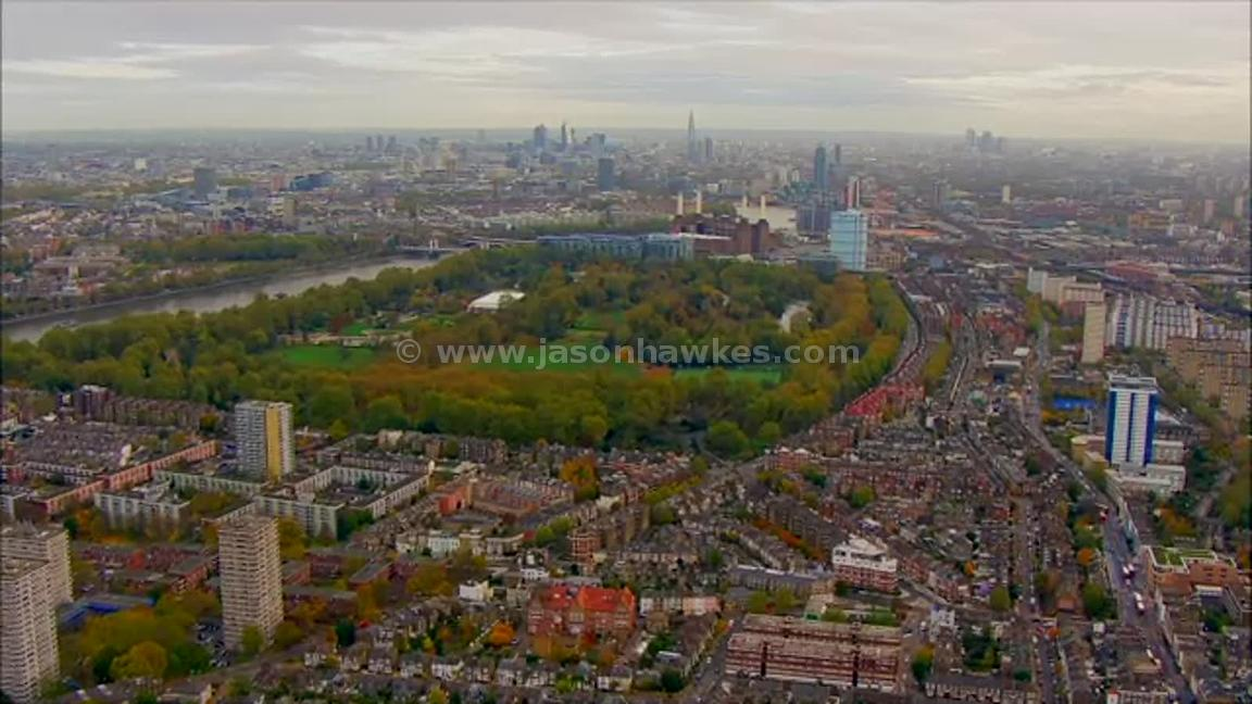 Aerial footage of Battersea Park, London