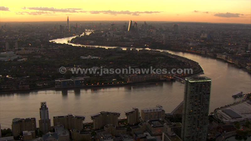 Aerial footage of Rotherhithe at sunset, London