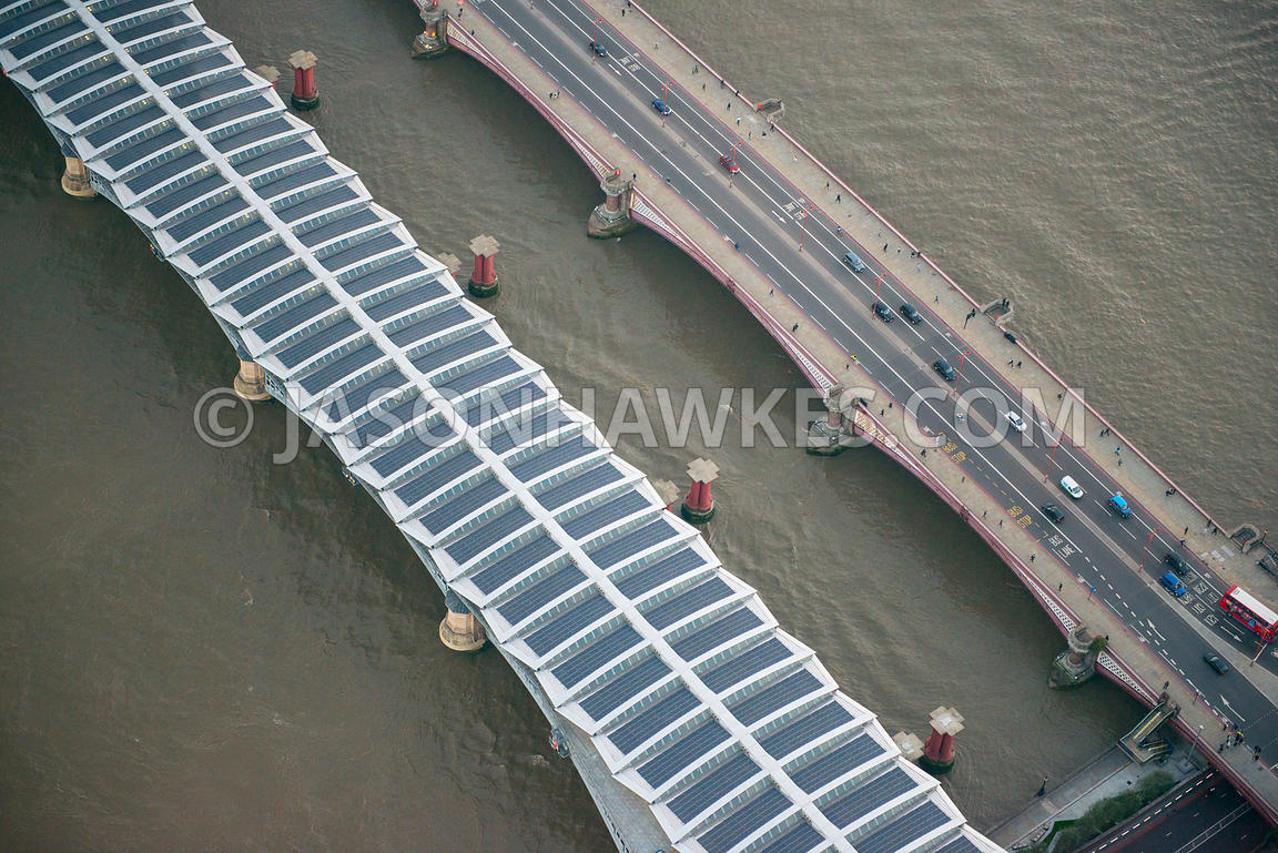 Aerial view of Blackfriars Bridge and Blackfriars station, River Thames, London