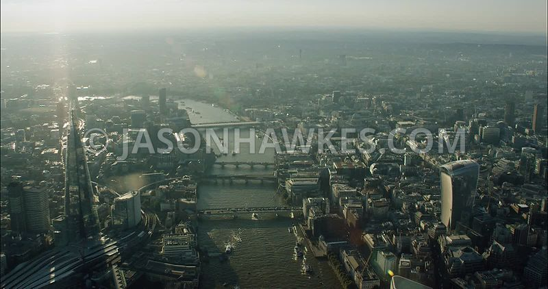 London Aerial Footage of The Shard and 20 Fenchurch Street