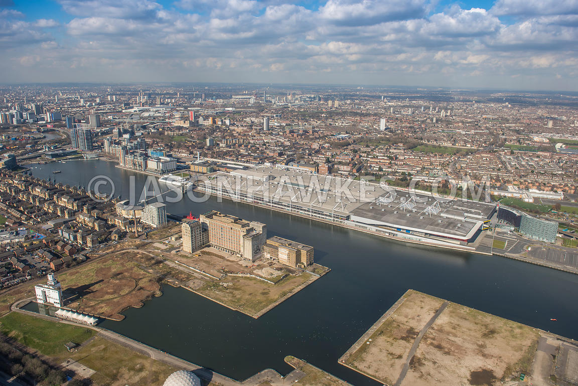 Aerial view of London, The Royal Docks, Royal Victoria Dock.