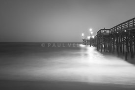 Newport Beach Balboa Pier Black and White Photo