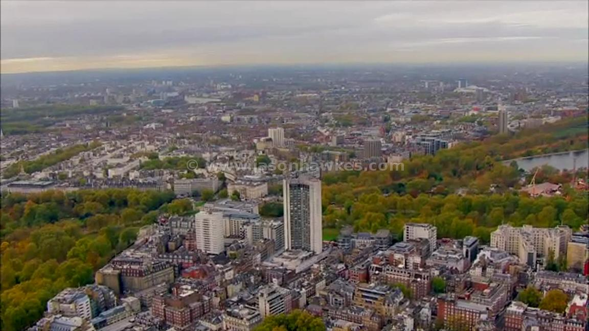 Aerial footage of Mayfair and Hyde Park, London