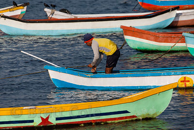 Fishing boats in Mahim Bay near Worli, Mumbai, India.