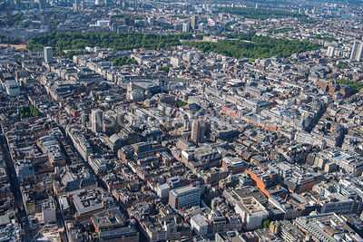 Aerial view of Soho, London.