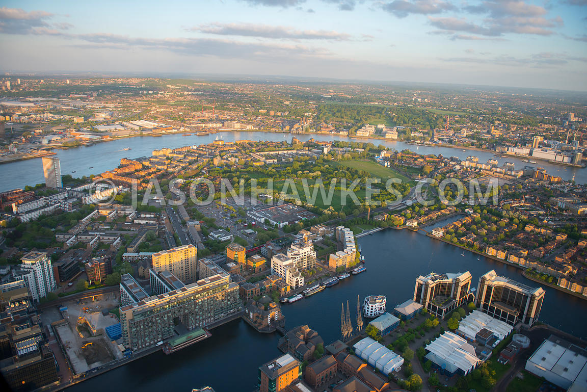 Aerial view of Millwall Outer Dock, Isle of Dogs, Tower Hamlets, London