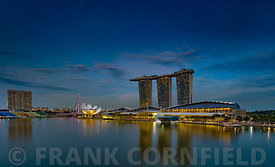 SINGAPORE CITY, SINGAPORE - OCTOBER 08, 2016: The waterfront at Marina Bay complex with modern hotel, retail outlets and rest...