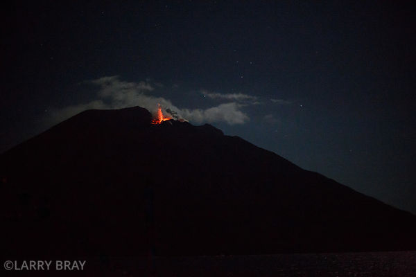 Stromboli Volcano glowing at night, Aeolian Islands, Italy