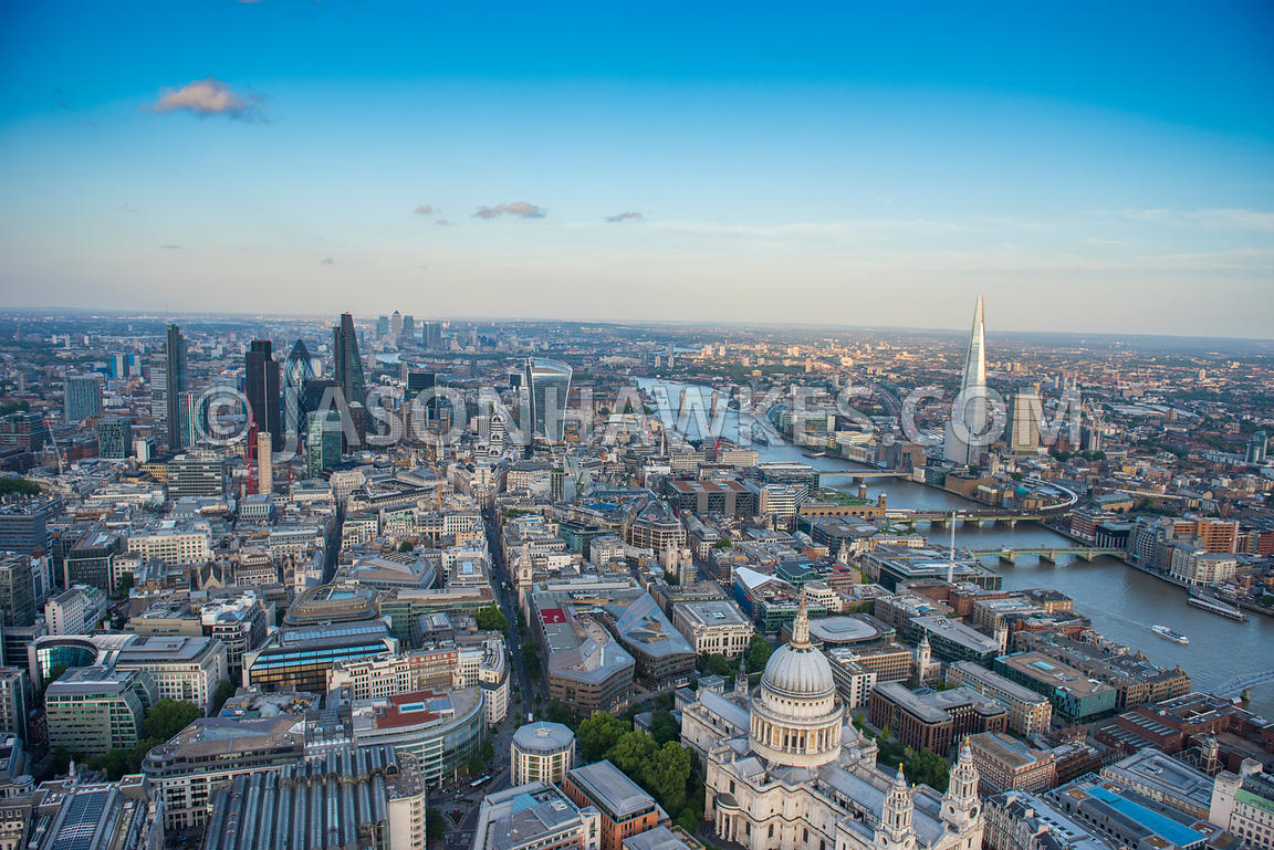 St Pauls, and the City of London aerial view