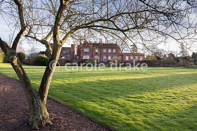 Evening sun casts long shadows across the main lawn at Hodsock Priory, Blyth, Notts on a winter's afternoon