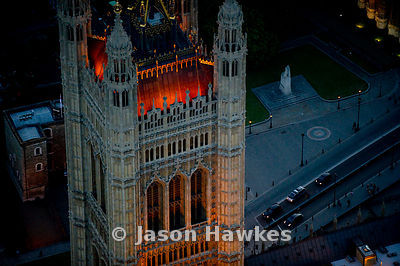 Night aerial view of Houses of Parliament