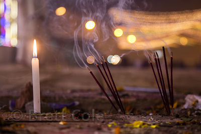 Incense burns at the Kapil Muni temple at the Gangasagar Mela, Sagar Island, India.