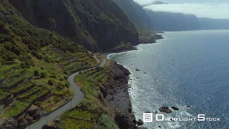Winding Seaside Road and Mountainous Terrain Madeira Island Drone Video Portugal