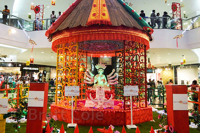 Durga Puja decorations at South City Mall in Kolkata, India. South City is the largest mall in East India. Durga Puja is the ...