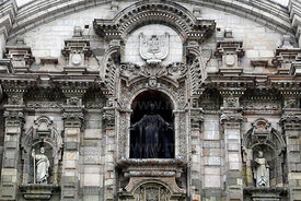 Detail of stone carving above main entrance of cathedral, Lima, Peru
