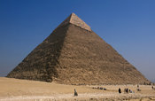 Pyramid of Khafre with limestone covering at the summit, Pyramids of Giza, Cairo, Egypt