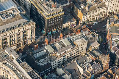 Aerial view of London, Carnaby Street with Great Marlborough Street.