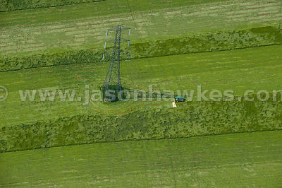 Electric pylon in field, Hertfordshire, England