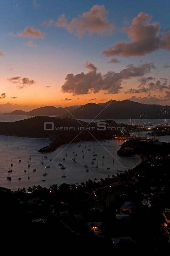 Elevated view over English Harbour and Nelson's Dockyard from Shirley Heights at dusk, Antigua, Antigua and Barbuda, Leeward ...