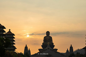 Sun set over the Buddha statue at the Fo Guang Shan Buddha Museum in Dashu District, Kaohsiung, Taiwan